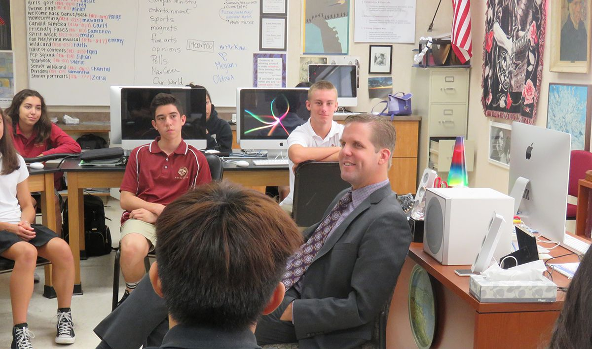 Photo of JSerra President Rich Meyer speaking to students