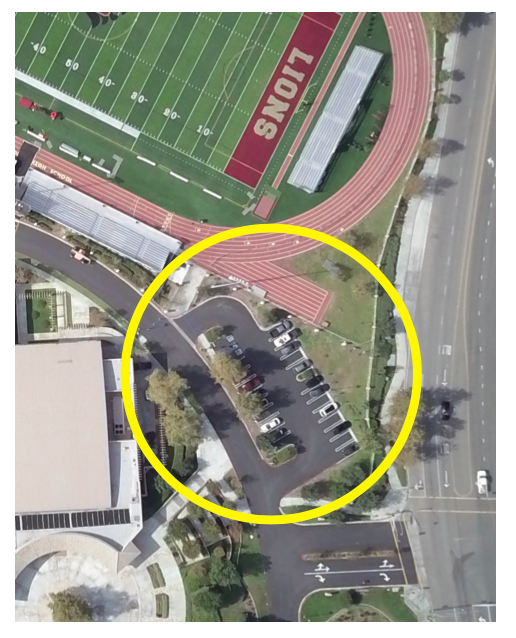 Drone shot of Athletic VIP Parking Lot